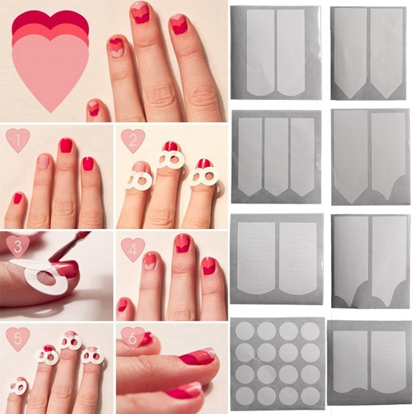15 Styles White French Manicure Nail Art Sticker Tips Guides