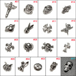 17 Style 3D Retro Silver Metal Nail Art Phone Decoration Stickers