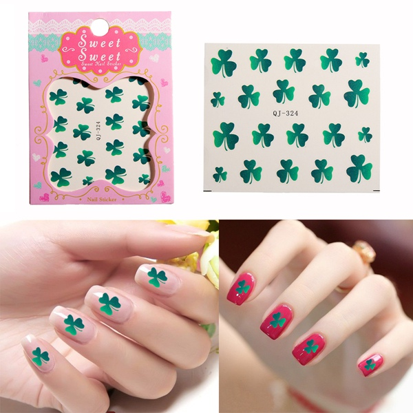 1PCS Green Shamrock Nail Art Decals Stickers Water Transfer Nail Art