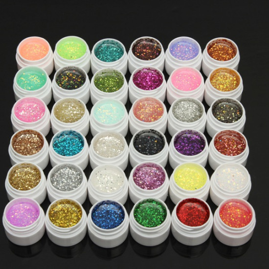 1 Pot 36 Colors Glitter UV Gel Builder Nail Art Polish 2021