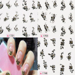 1 Sheet Black White Flower Nail Decals Stickers Nail Art