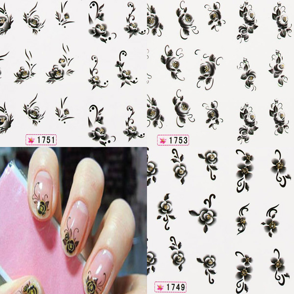 1 Sheet Black White Flower Nail Decals Stickers