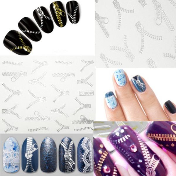 20 Pattern Nail Art Tips Silver Zipper Water Transfer Decals Stickers Nail Art