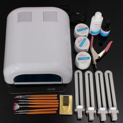 220-240V 36W White UV Gel Lamp Builder Forms Nail Manicure Tool Set