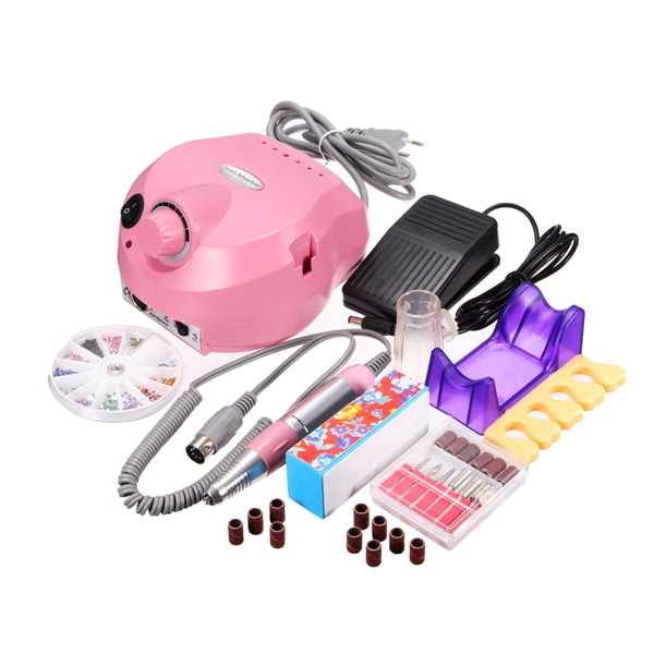 220-240V Pink Electric Nail Drill Machine Set Manicure Pedicure Tool