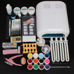 220V 36W UV Gel Dryer Lamp Nail Art Tips Cuticle Manicure Tool Set Kit