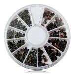 2/3/4mm Mix Size Black Glitter Rhinestone Nail Decoration Wheel Nail Art