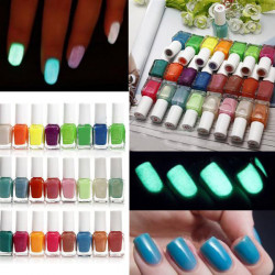 24 Colors Glow Fluorescent Neon Nail Polish Lacquer Varnish