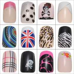 24pcs Acrylic Full Size False Fake Nail Art Tips w Glue