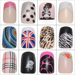 24pcs Acrylic Full Size False Fake Nail Art Tips w Glue