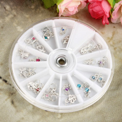 24pcs Dangles Rings Wheel Metal Rhinestone Nail Design Decorations
