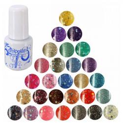28 Colors 6ml Nail Art Soak Off UV Gel Shiny Glitter Varnish Polish