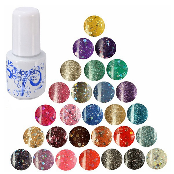 28 Colors 6ml Nail Art Soak Off UV Gel Shiny Glitter Varnish Polish Nail Art