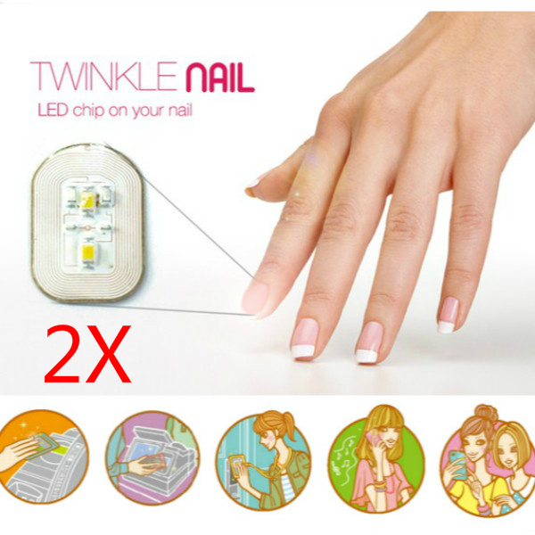 2Pcs Red Light NFC Nail Sticker Flash LED Magic Decal Party Club