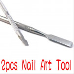 2X Cuticle Nail Pusher Remover Stainless Steel Manicure Nail Art