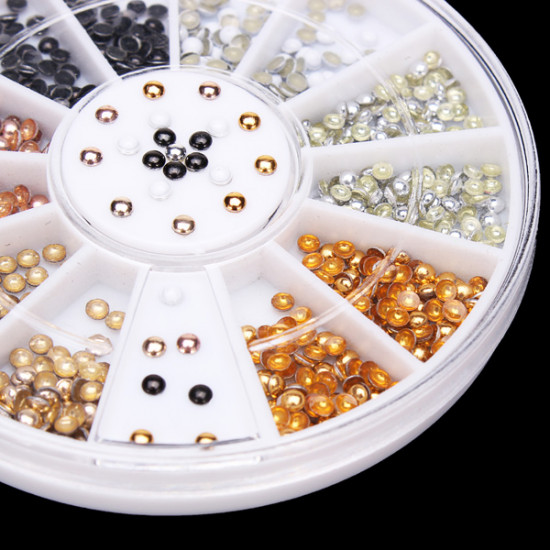 2mm 6 Colors Round Alloy Nail Art Decoration Wheel 2021