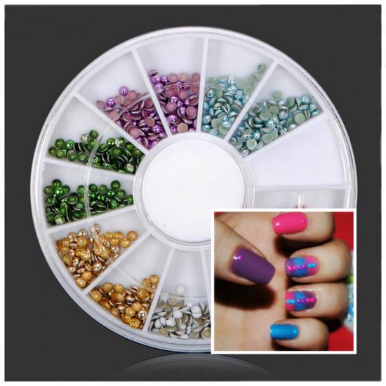 2mm Colorful Round Metal Plating Nail Art Decoration Wheel 2021