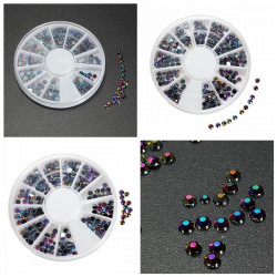 300 Pcs 3D Rhinestone Diamond DIY Nail Designs Decoration Wheel