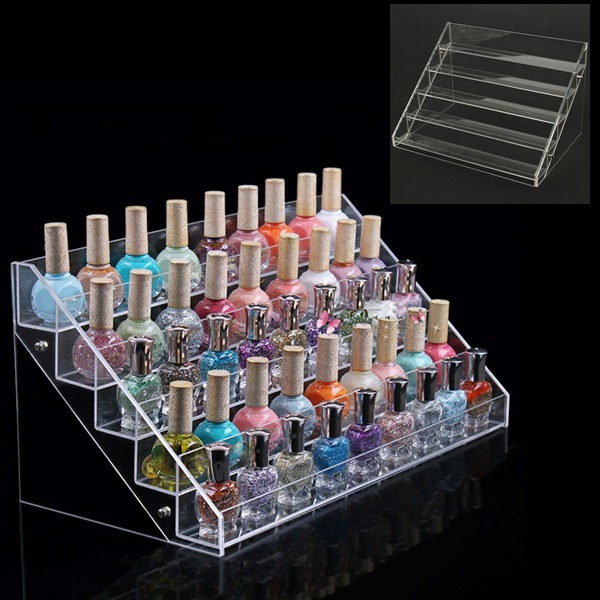 30.7 CM 5 Tiers Acrylic Nail Polish Display Stand Cosmetic Organizer Nail Art