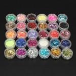 30 Colors Hexagon Acrylic Glitter Powder Nail Art Decoration Nail Art