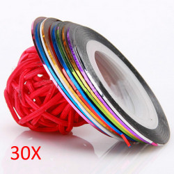 30 Rolls Nail Art Striping Tape Line Sticker DIY Decoration