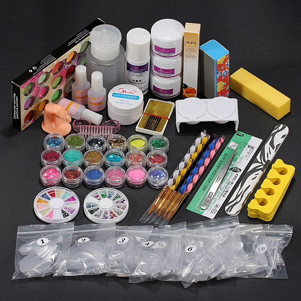 36 Acrylic Powder Liquid Brush Primer File UV Glue Nail Set Kits Nail Art