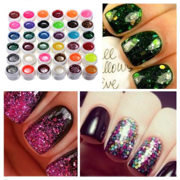 36 Colors Glitter Powder Shiny UV Gel Set Nail Art Decoration Nail Art
