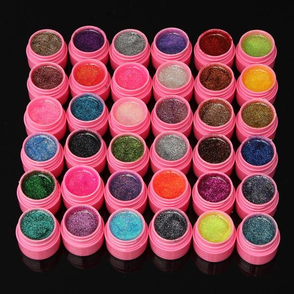 Günstig Kaufen 36 Farben Glitter Acryl Gel Builder Lack Set