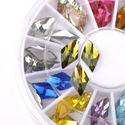 36pcs Elegant Nail Art Rhombus Rhinestones Sticker Decoration Wheel