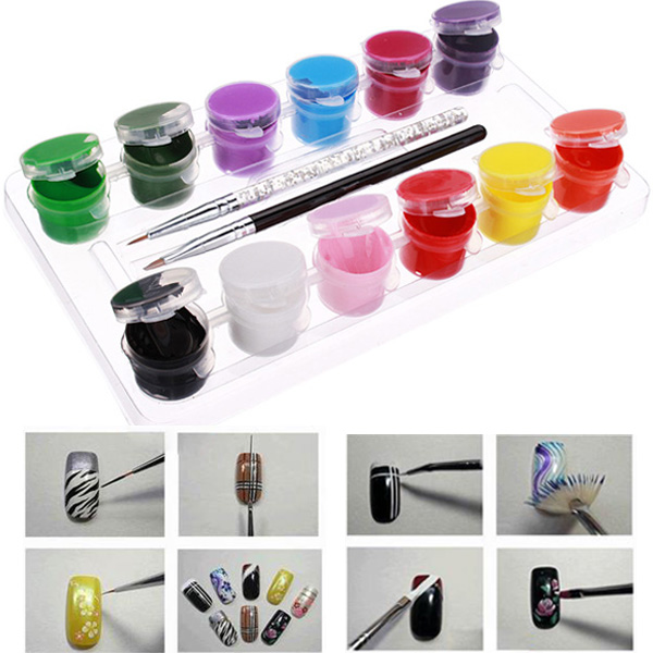 3D 12 Colors Acrylic Nail Art Paint Set With Nail Art Brush Pen Nail Art