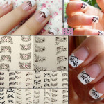 3D 4Pcs Lace Flower Design French Nail Art Sticker Decal Decoration Nail Art