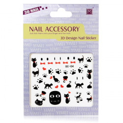 3D Black Cat Nail Decal Sticker Nail Art Decoration
