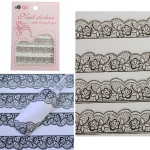 3D Black Lace Flowers Design Nail Art Sticker Decals Decoration Nail Art
