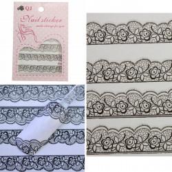 3D Black Lace Flowers Design Nail Art Sticker Decals Decoration