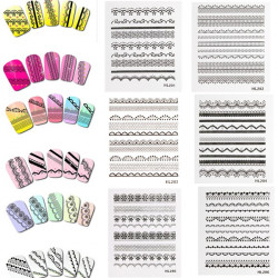 3D Black Lace Nail Art Stickers Manicure Tip Decals