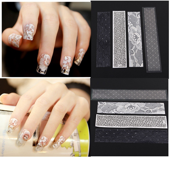 3D Black White Lace Flower Nail Art Stickers DIY Manicure Nail Art