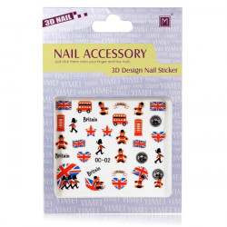 3D Britain Bus Flag Soldier Nail Decal Sticker