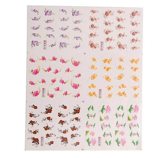 3D Colorful Flower Water Transfer Nail Stickers 2021