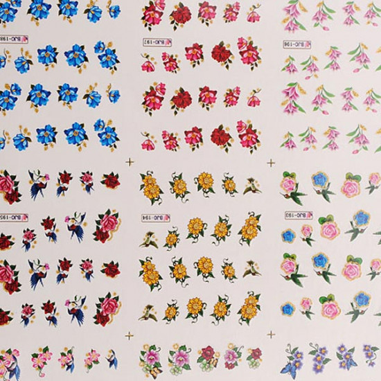 3D Colorful Glitter Butterfly Flower Nail Art Stickers Water Transfer 2021