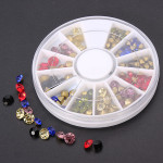 3D Colorful Rhinestone Nail Art Decoration Round Wheel Nail Art