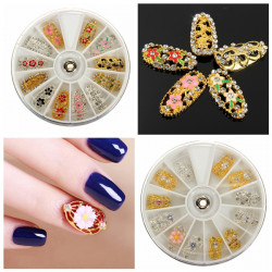 3D Crystal Rhinestone Alloy Hollow Flower Nail Art Decoration Wheel