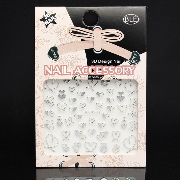 3D Design Silver Heart Nail Art Sticker Decal