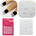 3D Fashion White Lace Nail Art Decals Stickers Manicures Nail Art