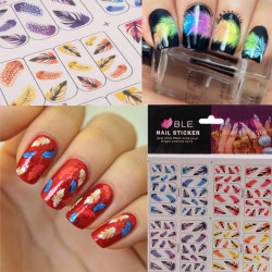 3D Feather Leaves French Nail Art Tips Water Transfer Nail Stickers