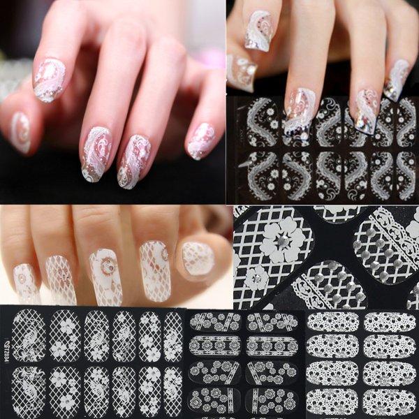 3D Flower Lace DIY Decoration Nail Art Foils Stickers Tips Wraps Decal Nail Art