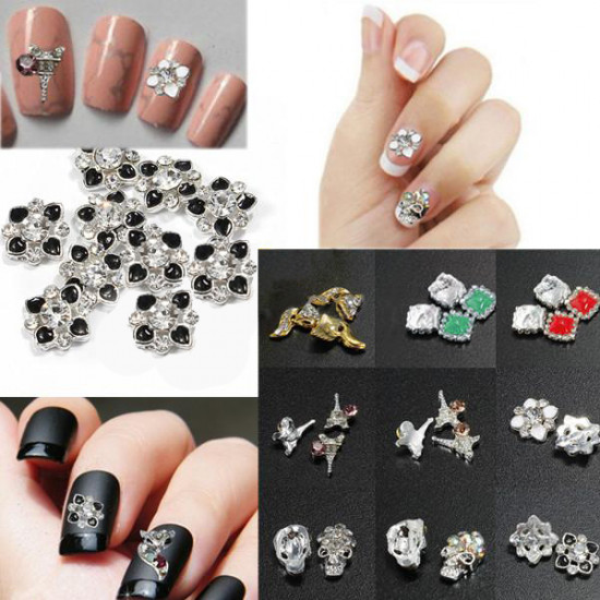 3D Glitter Fox Square Skull Rhinestone Metal Nail Art Stickers 2021