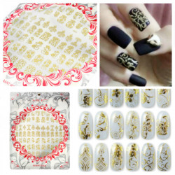 3D Gold Flower Nail Art Sticker Hot Stamping Decals J003