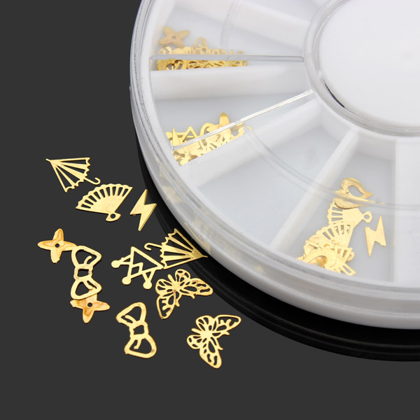 3D Gold Metal DIY Nail Art Decoration Sticker Wheel Nail Art