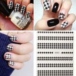 3D Houndstooth Fashionable Nail Art Stickers