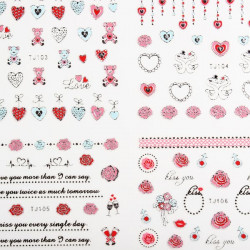 3D Mixed Style Flower Silver Nail Sticker Decal Valentines Day Design